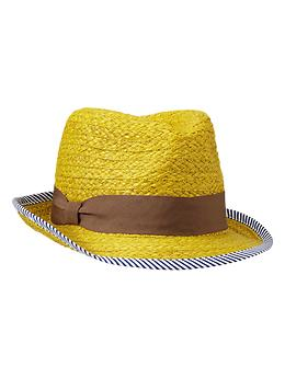 Stripe-trim straw fedora - yellow