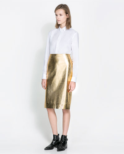 zara gold skirt